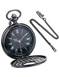 BestFire Orologio da tasca Nero romano Retro orologio da tasca al quarzo d'epoca Numeri romani Orologio Steampunk Fob
