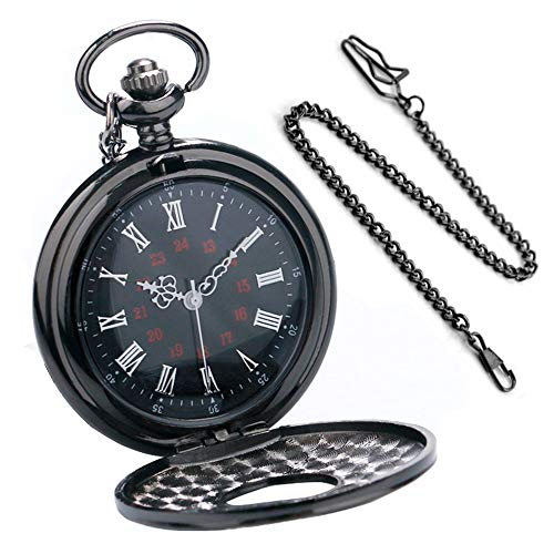 Reloj de bolsillo Best Fire Negro romano Retro Reloj de bolsillo de cuarzo vintage Números romanos...
