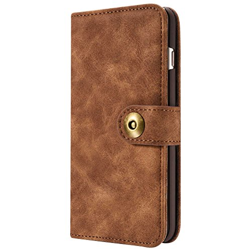 Phone Case Leder Hülle Brieftasche mit Kartenfächer Geldscheinfach Premium mit abnehmbaren Magnet Handy Schutzhülle,Braun,Iphone 6Plus/6s Plus(5,5