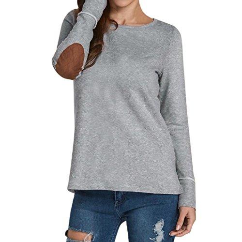 Casuale Camicia Donna Rcool Sexy camicetta pullover maniche manica lunga O collo Top T shirt Grigio