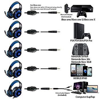 Cuffie per giochi per PS4, Cuffie per giocatori a LED (blu) con microfono con cancellazione del rumore per PC, Mac, Playstation 4, Xbox One (BLACK BLUE)