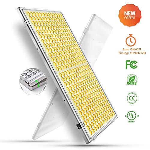 Relassy LED Pflanzenlampe Vollspektrums 300W, 338 LEDs Automatische An/Aus Pflanzenlampe mit Timing-Funktion, Klappbare Pflanzenlicht für Zimmerpflanzen, Hydrokulturen und Gewächshaus geeignet (F-300)