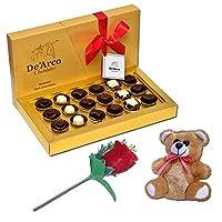 De'Arco Chocolatier Valentines Day Chocolate Gift, Premium Luxury Chocolates, 18pcs + Free Teddy and Rose