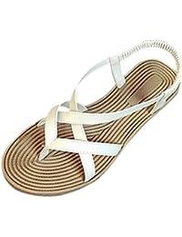 Transer® Damen Sandalen Niedrige Ferse Toepost Kreuzgürtel Elastischer PU- Leder+Gummi Weiß Schwarz 284d8677b9