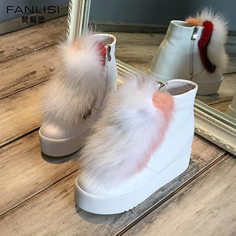 SHOESHAOGE Zapatos De Mujer Invierno Mujer Botas Botas De Nieve En El Interior De La Hembra Inferior Grueso Botas...