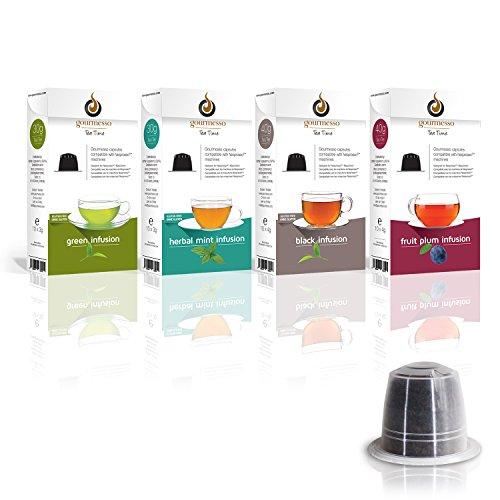 Gourmesso Infusion Box - 40 Nespresso kompatible Teekapseln - 4 verschiedene Geschmacksrichtungen