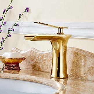gimili acabado de oro de baño grifo del fregadero cascada sola manija con ranuras, Single Hole Basin Monoblock grifo mezclador monomando para