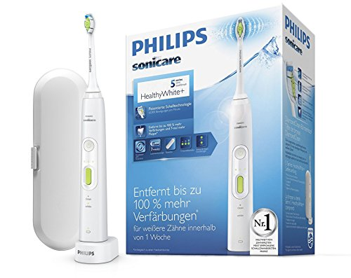 Philips Sonicare HealthyWhite+ Elektrische Zahnbürste HX8911/02 mit 2 Putzprogrammen, 3 Intensitäten, DiamondClean Aufsatz & Etui - Zähne aufhellen, Plaque & Zahnverfärbungen entfernen - Weiß