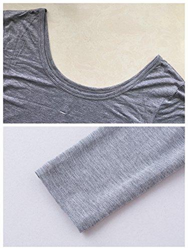 Kemini Damen U-Ausschnitt Stretch Duennes Thermo Unterwaesche Set Leggings & Langarm Shirt Grau