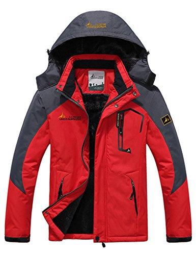 Lorata Herren Männer Herbst-Winter Sportswear Wasserdichte Jacke Outdoor Regenmantel mit Kapuze Softshelljacken Fleecejacken Windjacken Rot