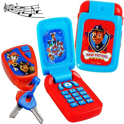 alles-meine.de GmbH 2 TLG. Set _ Handy & Schlüssel - mit Sound - Paw Patrol - Hunde - für Kinder / Auto - elektrisches Kinderhandy klappen - Autoschlüssel - Kinderschlüssel - Sch.. -