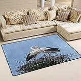 xianghefu Personalisierte Bereich Teppiche weiß Storch auf Nest in Spring 3'x2' (91,4x 61cm) Boden Fußmatten Matte Weich Für Wohnzimmer Schlafzimmer Home Küche dekorativ, Gesponnenes Polyester, Image 325, 31x20 Inches