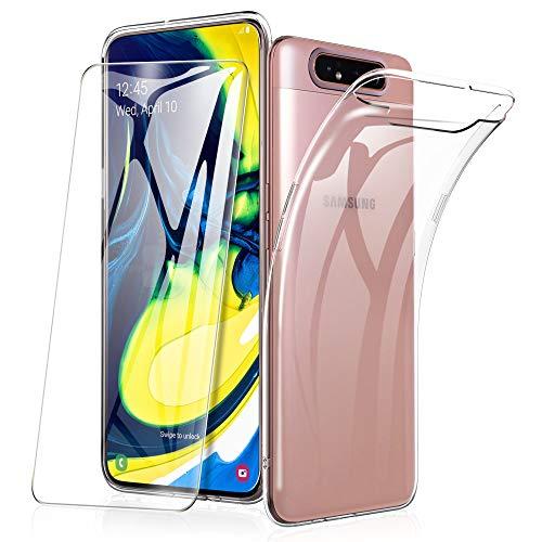 HOUROC Samsung A80 Cover + Gehard glas, Samsung Galaxy A80 transparante hoes Ultrazachte stevige en flexibele TPU, schermbeschermer 9H voor Samsung A80.