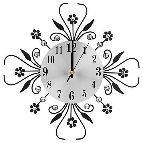 FTVOGUE Europäischen Stil Wanduhr Kreative Stumm Eisen Blumenförmige Wand Diamant Hängen Uhr für Wohnzimmer Dekor