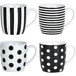 Quid 2262024 Lolita - Juego de 4 tazas (porcelana, 35 cl), color negro