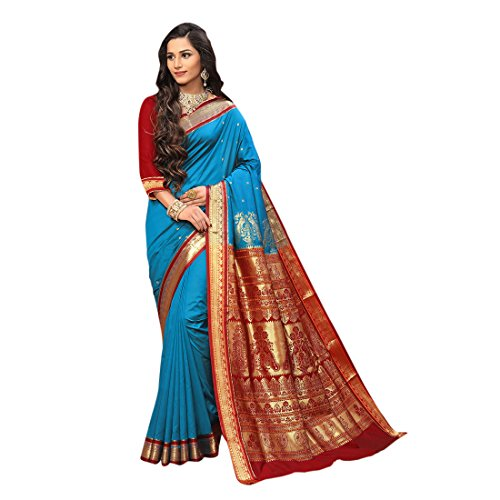 Craftsvilla Women's Silk Blend Zari Work Traditional Blue Saree with Blouse Piece