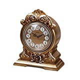 DSJ Tischuhr Europäischen Nacht Rosen Uhr Kreative Sitzende Uhr Ornamente Stilvolle Stille Arbeitsplatte Nachttischuhr,AAA