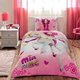 Doble cama infantil niñas original Lisensed Mia y Me 100% algodón colcha–Juego de funda de edredón para cama, juego de cama 3piezas