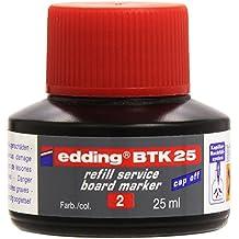 Edding 233411 - Bote tinta marcador pizarra BTK, 25 ml, color rojo