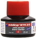 edding BTK25-002 - Frasco de tinta para pizarras blancas de 25ml, sistema capilar, color rojo