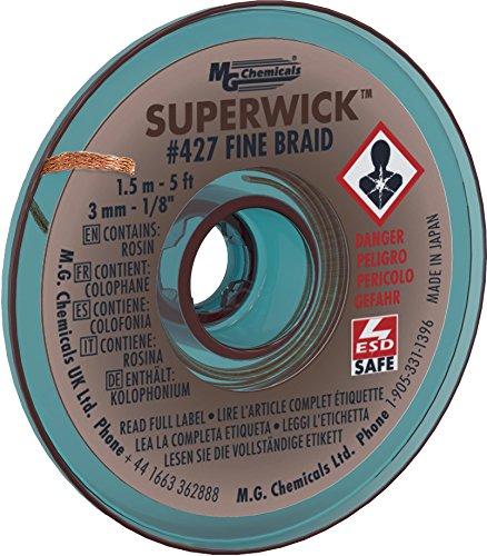 litze # 5feinlitze Super Docht mit RMA Flux, 5'Länge x 0,3cm Breite, braun (Mg Chemical Flux)