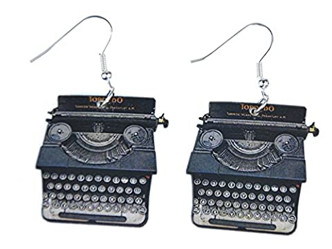 Typewriter Keys Earrings Miniblings Writing Old letters author Laser Cut Wood