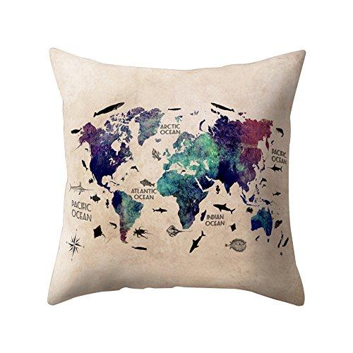 Funda de cojín Dragonaur, diseño cuadrado de 45,72 cm con estampado de mapa del mundo, decoración...