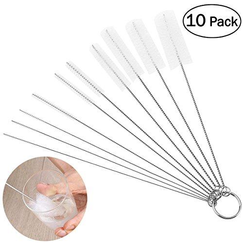 OUNONA Schlauchbürste Set Nylon Reinigungsbürsten Drahtrohr Werkzeug für Reagenzgläser Reinigen,Multifunktional (Pack of 10) (Weiß) -