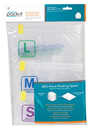 Eagle Creek Pack-It Compression Sacs Set with 3 Sizes, L/M/S Organiseur de Bagage, 72 cm, 8.5 liters, Transparent (Clear S/F/B)
