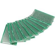 Vktech 10Stk. 4x6cm Lochrasterplatte Lochrasterplatine Leiterplatte Streifenraster Platine PCB Board
