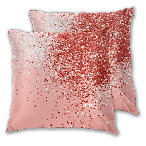 Sparkling Coral (Set von 2 Kissenbezügen, dekorative quadratische Kissenbezüge, für Heimdekoration, Schlafzimmer, Wohnzimmer, 45,7 x 45,7 cm, Sparkling Living Coral Lady Glitter Shiny Decor Art)