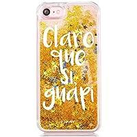 """Funda Dorada Agua """" Claro que si guapi """" Carcasa con estrellas purpurina Oro brillante Tpu silicona con liquido interior para iPhone 6 Plus"""