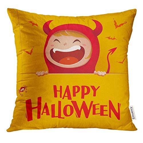 wuling Kissenbezug Cartoon Happy Halloween Red Devil Dämon mit großem Schild Gelb Feier Dekorative Kissenbezug Wohnkultur Platz 18x18 Zoll Kissenbezug (Halloween Happy Cartoon)