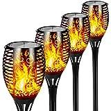 FLOWood Solar Gartenfackel realistischer Flammeneffekt 2 in 1 Solar Hängeleuchte für Garten Solar Gartenleuchte IP65 wetterfe