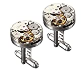 #2: Peora Silver Plated Deluxe Steampunk Vintage Watch Movement Shape Cufflinks for Men Business Gift