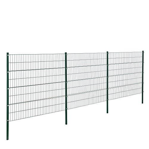 [pro.tec] Doppelstabmattenzaun - 6 x 1,6 m - Eisen Gartenzaun Metallzaun Set (grün)