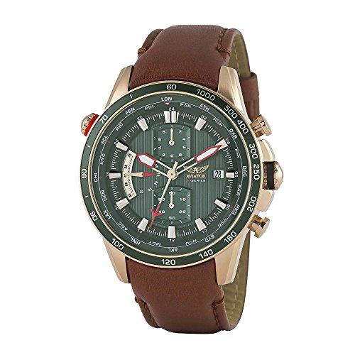 AVIATOR Herren Uhr watch Armbanduhr Chronograph AVW2020G288 Leder braun