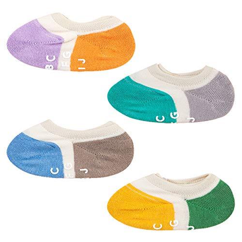 Animque bambini bambino calzini invisibili 2-4 anni ragazzi ragazze antiscivolo calzini di linea cotone calze alla caviglia traspirante confortevole 4 paia, colorato gruppo