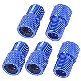 Convertitori Adattatori 5 Pz biciclette Pompa tubo blu della lega di alluminio della valvola