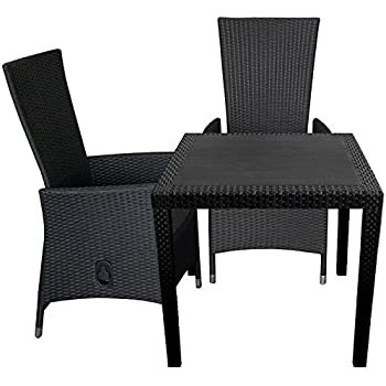 3tlg terrassenm bel set kunststoff gartentisch rattan look 79x79cm 2x poly rattan. Black Bedroom Furniture Sets. Home Design Ideas