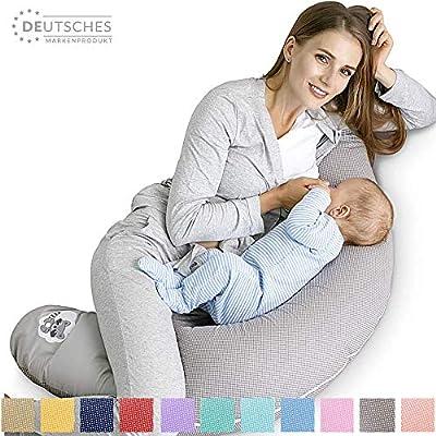 Stillkissen Schwangerschaftskissen 170x30cm | Füllung: schadstoffgeprüfte 3-D Faserbällchen Ökotex zertifiziert. Bezug mit Reißverschluss und hochwertiger Stickerei. Ideal für unterwegs ( Taupe-Waschbär )