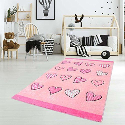 carpet city Kinderteppich Spielteppich Flachflor Junior mit Herzen-Motiv in Rosa, Pink für Kinderzimmer: Größe 133x190 cm