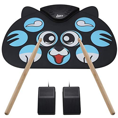Lujex 9 Elektronische Roll Up Drum Pad Kit Tragbare Elektronische Drum Set Schlaginstrument mit Lautsprecher kann an Computer Angeschlossen Werden (Cartoon)