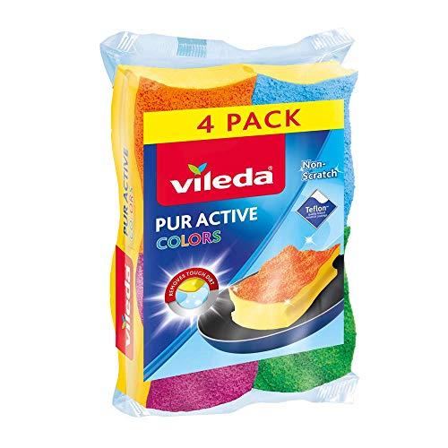Vileda Pack 3+ 1Glasfaser Topfreiniger mit Schwamm Colors
