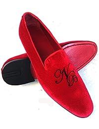 scarpe uomo, slippers, pantofole in velluto rosso con ricamo iniziali personalizzate