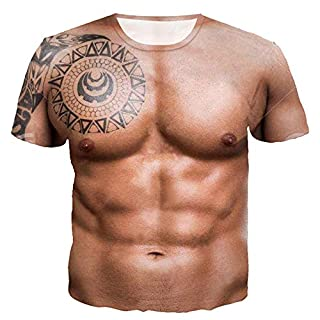 Anglewolf Mens T Shirts Print Unisex Short Sleeve Summer Tee Shirt Hipster Casual Graphics Tees 3D Offensive Boobs Printed (Brown 2,XXL)