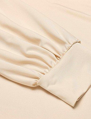 CHIGANT Damen Langarmshirt Elegant Casual Oberteile Drapiert Basic Pullover mit Wickel-Optik S-XXL Nude