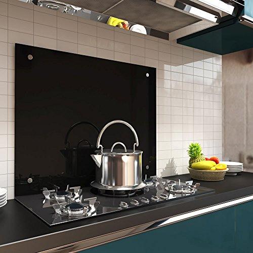 Melko Spritzschutz Herdblende aus Glas, für Küche, Herd, Fliesen, 6 mm ESG Sicherheitsglas, Küchenrückwand, inkl. Schrauben, 80 x 50 cm, Schwarz