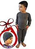 #4: HAP Kings Round Neck Grey Melange Winter Thermal Set of Top Trouser & matching Cap for Kids /Thermal for boys and Girls
