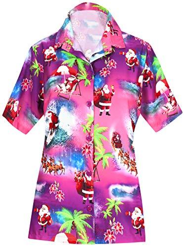 LA Leela Frauen-Taste gedrückt kurzer Ärmel Hawaii Hemd Christmas Santa Claus Jingle Bells X-Mas Tree Weihnachten Rosa_AA98 L - DE Größe :- 46-48